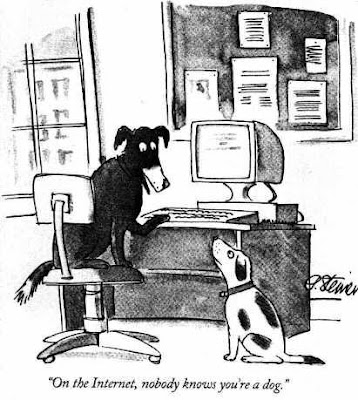 Cartoon of On the Internet, nobody knows you're a dog