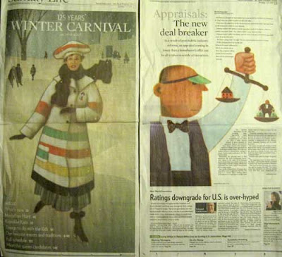 Two large color illustrations by Kirk Lyttle, one of a woman ice skating for the Winter Carnival, the of an accountant with a green eyeshade weighing money vs. a house