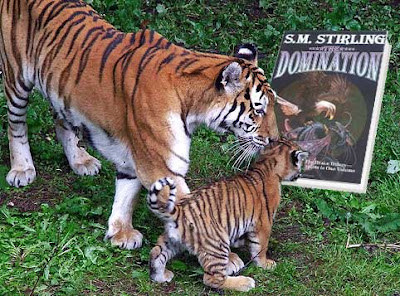 Altered photo of an adult and tiger and tiger cub looking at a copy of S.M. Stirling's The Domination