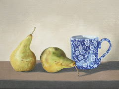 Blue mug and pears