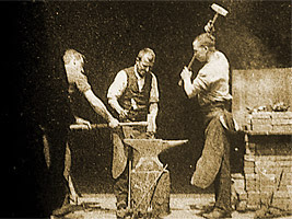 cadru din filmul Blacksmithing Scene