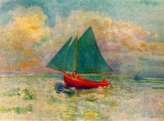 Odilon Redon, Red Boat with Blue Sail