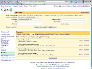 Filtry Google Mail - 1. krok