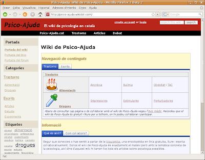Captura de pantalla del wiki de Psico-Ajuda