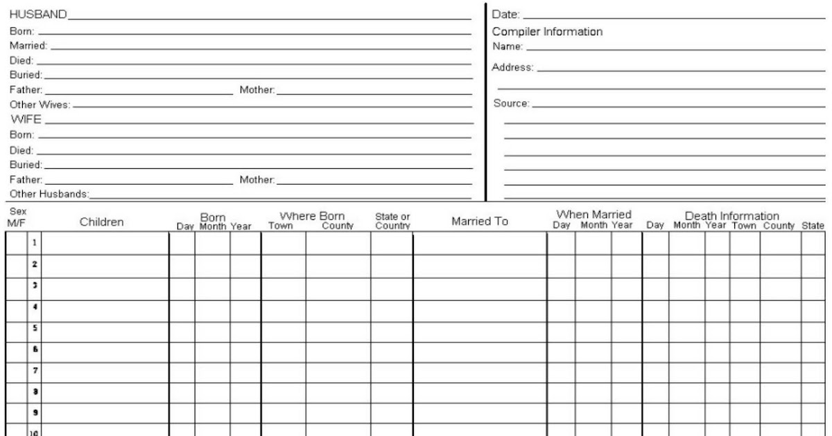 family history for beginners  forms and charts