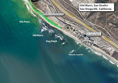 Surf Break Map: San Onofre State Beach, San go, Orange ... on doheny sb campground map, doheny state beach camping map, doheny campsite map, mueller state park campground map,