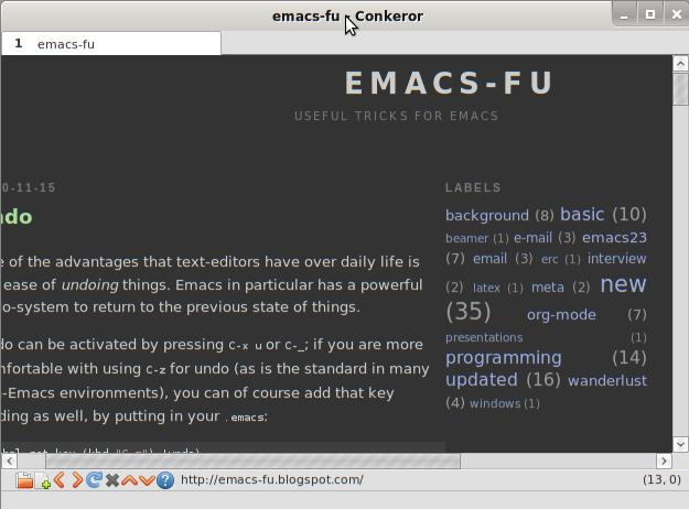 emacs-fu: conkeror: web browsing the emacs way
