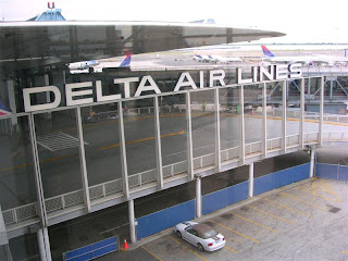 Delta Airlines sign JFK Airport, New York