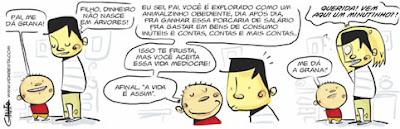 Charge eletrônica mostrando a realidade brasileira