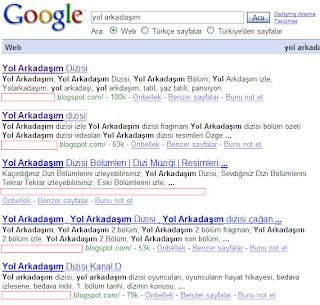 Google aramasında Yol Arkadaşım