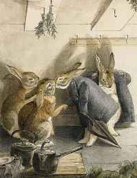 Beatrix Potter - The Rabbits' Christmas Party (1890s) detail