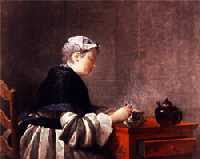 Jean-Simeon Chardin - A Lady Taking Tea (1735)