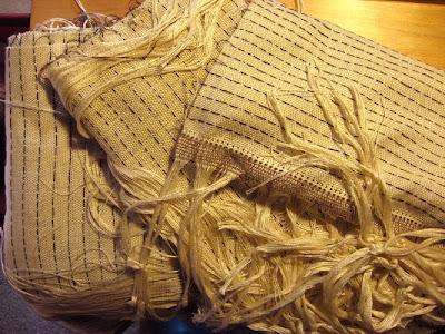 Three undyed woven shiboris just off the loom