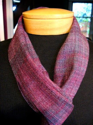 Hand dyed, handspun small silk scarf