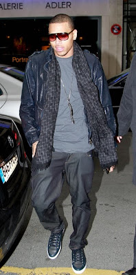 7dd5c6f63 Chris Brown, who is still out in Europe for the fashion week events, was  spotted rocking Louis Vuitton Evidence sunglasses ($675) and a pair of navy  Louis ...
