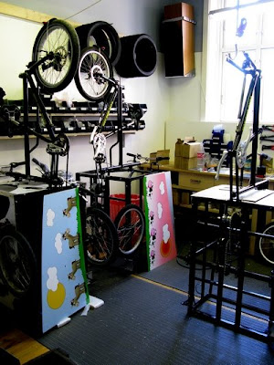 Bellabike's Showroom has a small workshop for assembling bikes