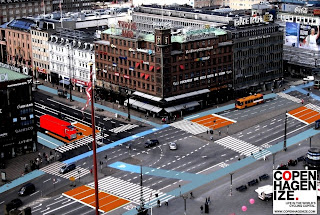 Copenhagen City Hall Square with new stop lines and bike lanes