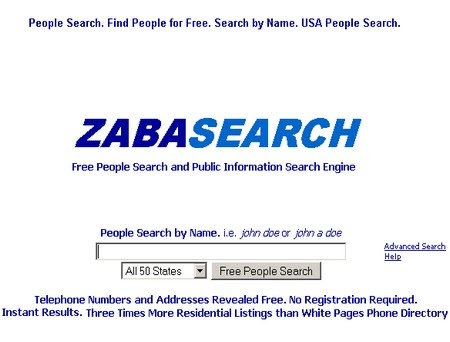 zabasearch engine phone number address information records person advanced background