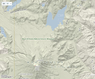 Microsoft map of Mt. St. Helens