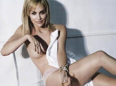 sharon stone poses topless
