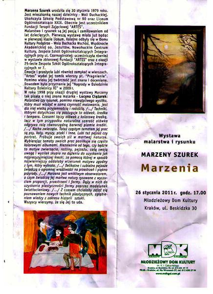 Artes Wernisaż Marzeny Szurek W Mdk Wola Duchacka Cd
