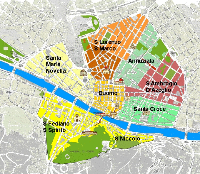 Map of the neighborhoods of Florence, Italy.