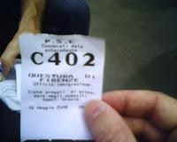 Ticket at Questura