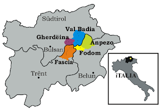 Map Showing Where the Ladin Language is Spoken