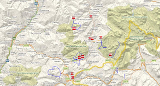 Map showing some hikes in the dolomites.