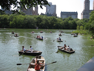 Boaters on the Big Lake in Central Park