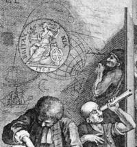 D7130 A detail from Hogarth's Rake's Progress (Plate 8), showing Longitude lunatics in Bedlam. Copyright NMM.