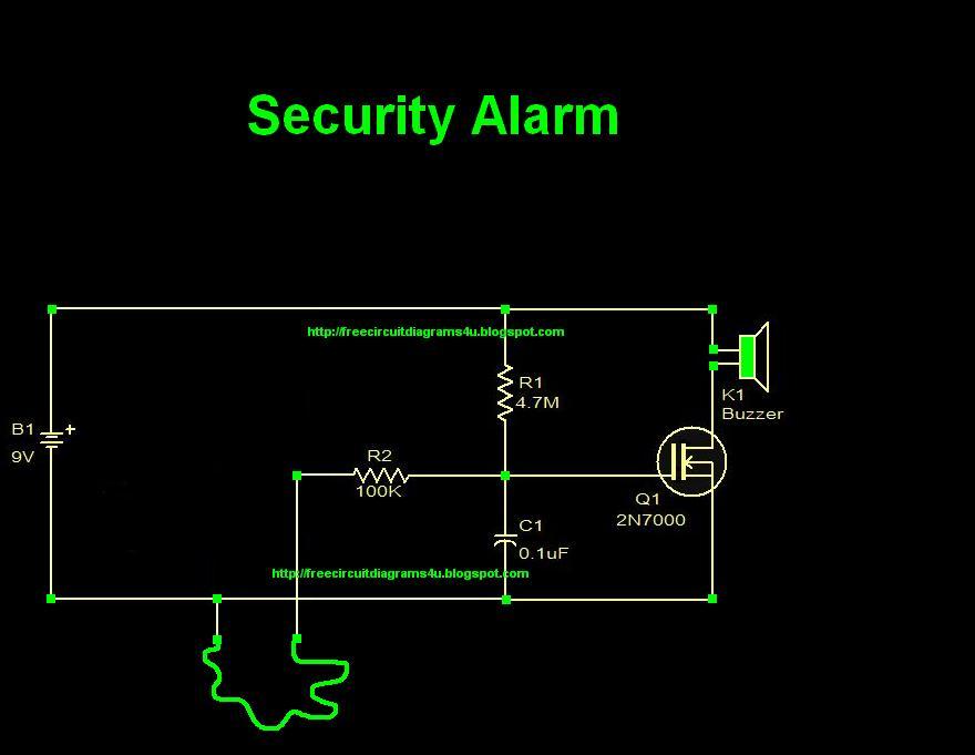Free Circuit Diagrams 4u  Security Alarm