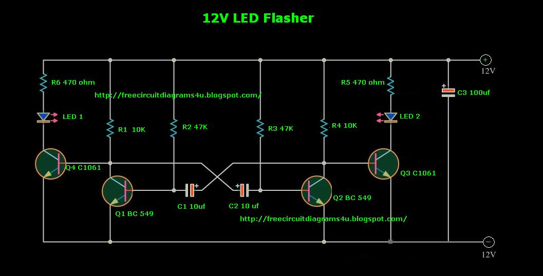FREE CIRCUIT DIAGRAMS 4U: 12V LED Flasher for Cars
