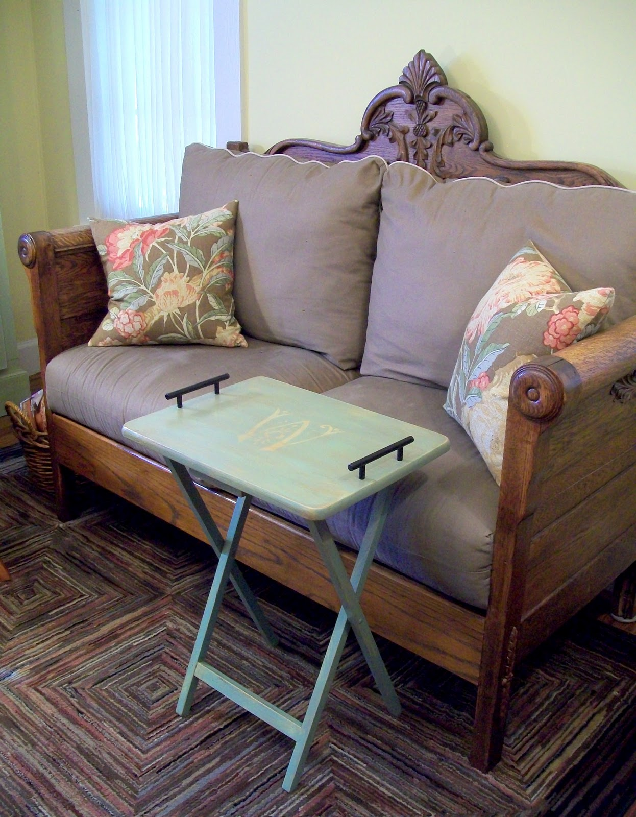 sofa redo turn your into a bed cottage hill tv tray and loveseat