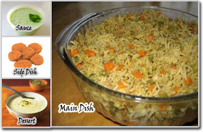 Vegetable Rice with Nuggets Meal Idea