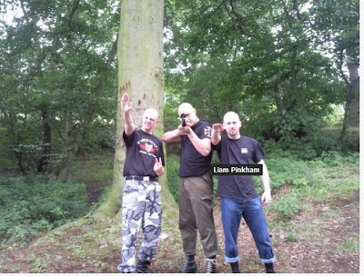 BNP supporter, Liam Pinkham (giving Nazi salute, right) and armed Nazi friends. Taken from the  'Eric the Fish' blog (10/12/09)