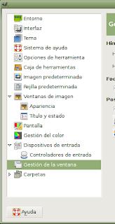 Sección derecha del panel de preferencias de GIMP