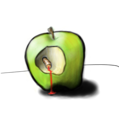 Manzana mordida con medio gusano sangrando