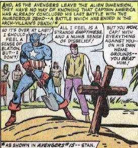 That's how cool Cap is...he buries his fallen foes