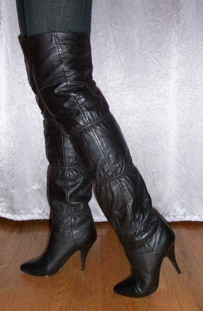 16240d94470 eBay Leather  Vintage Clicks thigh boots