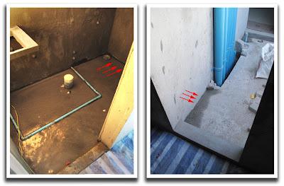 Zebra Residence: Bathroom water proof testing before screed