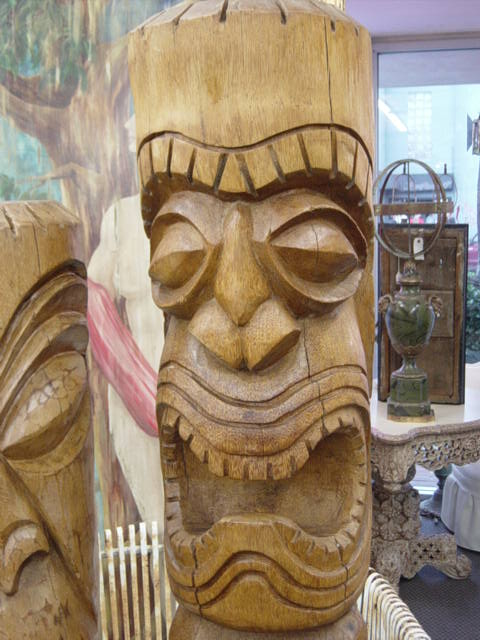 Newport Avenue Antiques Large Vintage Kapu Tiki Statues Rattan Shelf And Table Vintage Studio