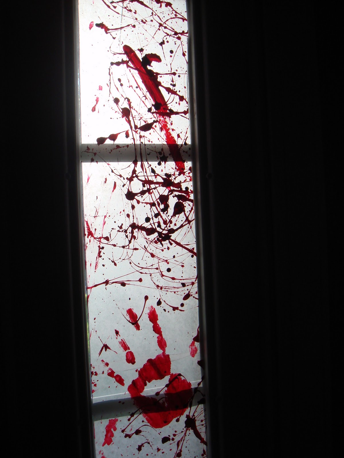Halloween window decorations - Blood Spattered Windows
