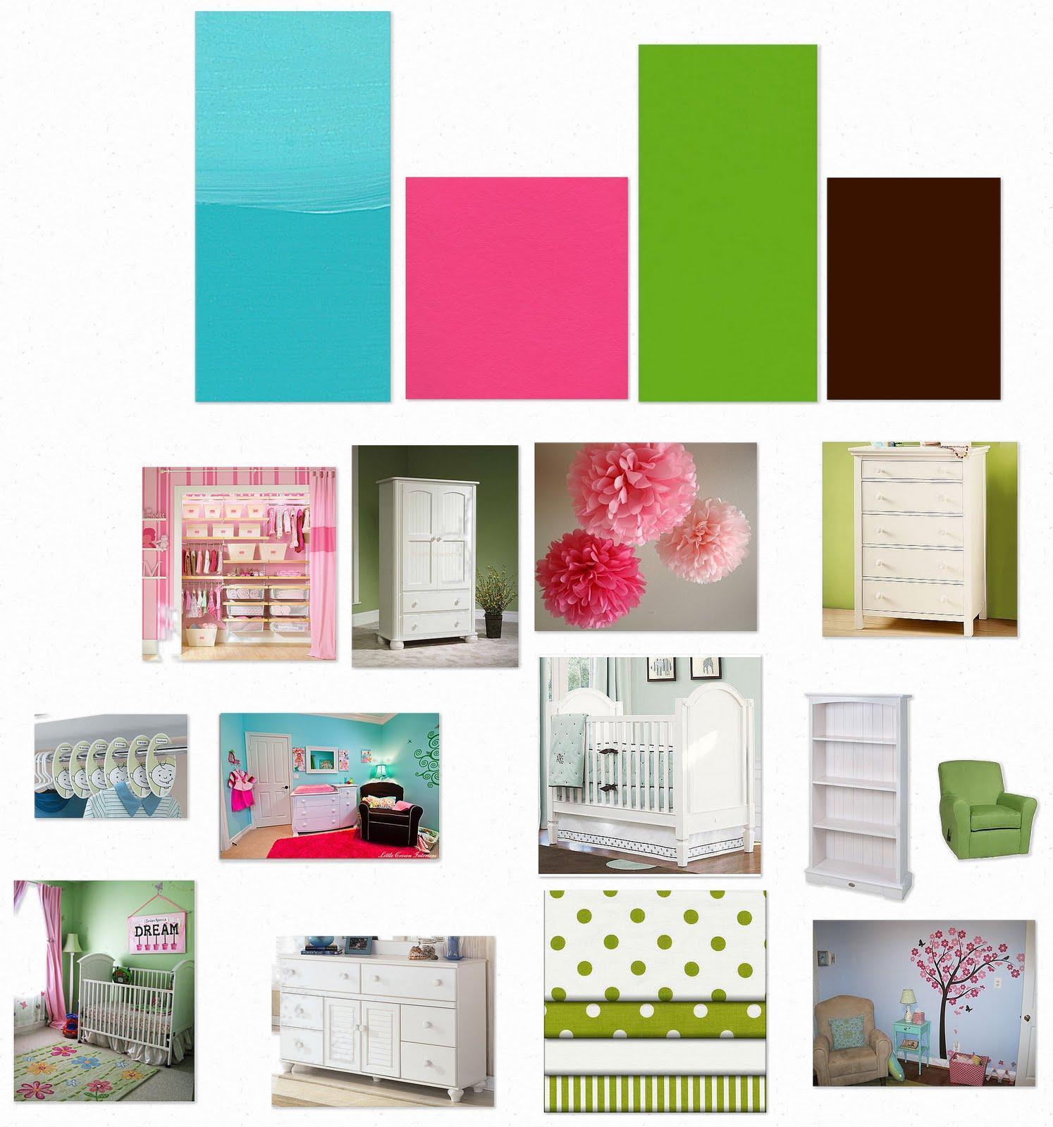 Aqua Bright Pink Lime Green Dark Brown Nursery Mood Board