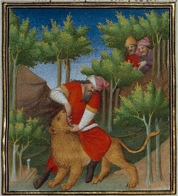 Samson and the Lion.  Boucicaut Master. French, Paris, about 1415.  J. Paul Getty Museum, Los Angeles.