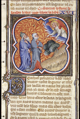 An angel announces the birth of Samson to Menoah and his wife, unknown illustrator, Petrus Comestor's 'Bible Historiale', France, 1372, Museum Meermanno Westreenianum, The Hague.
