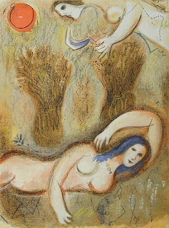 Chagall, Boaz Wakes up and Sees Ruth at his Feet.  Lithograph, 1960.