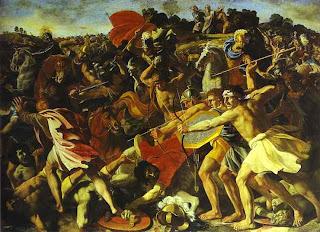 Nicolas Poussin. The Battle of Joshua with Amalekites. c. 1625