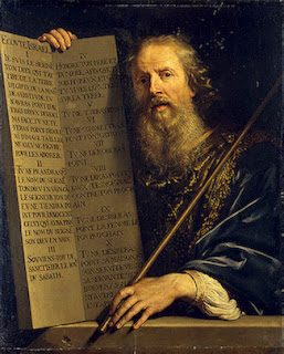 Painting: Moses with the Ten Commandments. Philippe de Champaigne. Oil on canvas. 91.5x74.5 cm. France. 1808.