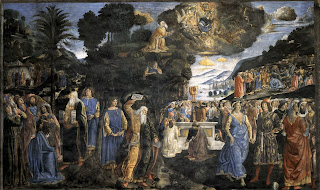 Rosselli. Tables of the Law with the Golden Calf. 1481-82. Fresco, 350 x 572 cm. Cappella Sistina, Vatican